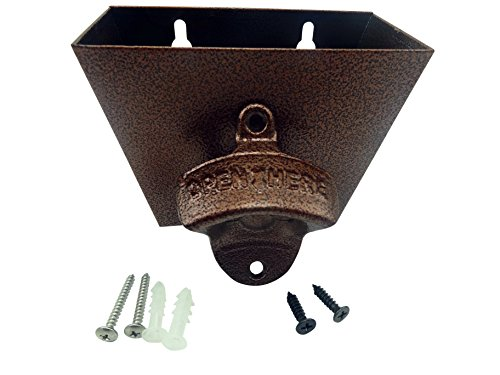 (Bottle Opener Cast Iron Wall Mount and Stainless Steel Cap Catcher with Screws - OPEN HERE Classic Mounted Vintage Style Home Bartender Restaurant Decor)