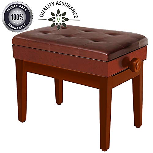 Adjustable Piano Bench Wooden Piano Stool with Music Storage & Height Adjustable- PU Leather and Solid Wood (Brown)