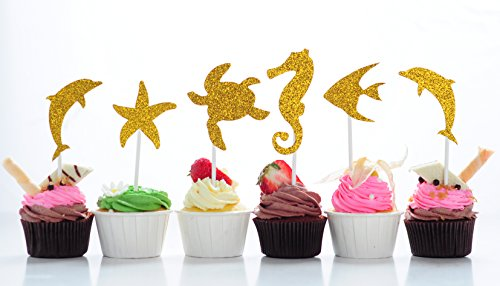 BeBeFun Super Gold Sparkly Shiny Glitter Cake Cupcake Toppers. Large Marin Animals Cake Decoration Tools for Theme Party Dessert Table Supplies 12 Pieces in Pack. - Dolphin Cupcake Decorations