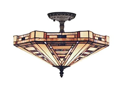 Elk 932-Cb American Art 3-Light Semi-Flush Mount, 8-Inch, Classic Bronze