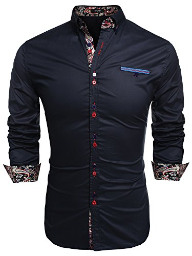 - Coofandy Men's Fashion Slim Fit Dress Shirt Casual Shirt, 01-dark Blue, X-Large