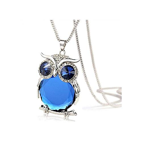 Nmch Fashion Owl Pendant Necklace,Women Alloy+Glass Diamond Sweater Chain Long Necklace Jewelry Gift - Nm Girl