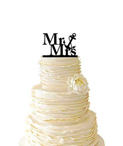 KISKISTONITE Nautical Mr. And Mrs. With Nautical Anchor, Wedding Cake Topper Anniversary Engagement Favors Party Supplies Decorations