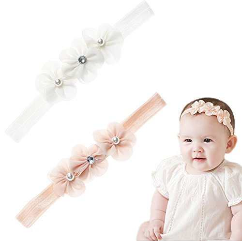 Gold Lace Bow - XiFe Baby Elastic Headbands Princess Girls Lace Floral Headwear Party Supplies (Z-Pearl Flower)