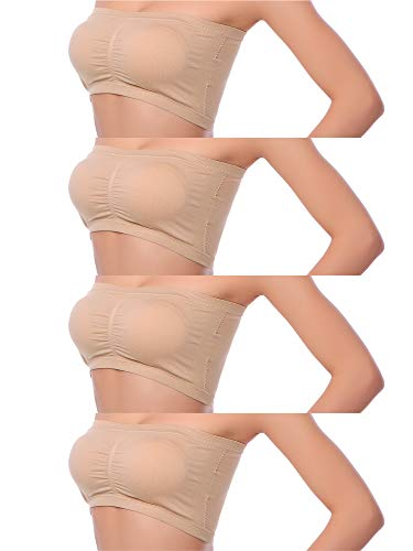 Coobey 4 Pack Women's Seamless Bandeau Crop Tube Bra Strapless Top Bra Removable Pad, 4 Colors (XL, Set ()