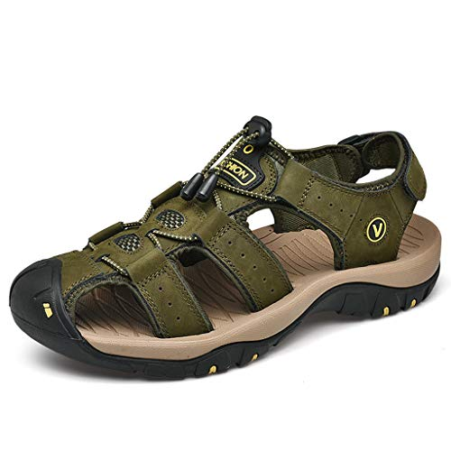 (Closed Toe Sandals for Men Summer Leather Outdoor Hiking Water Shoes Slides Traveling Walking Fishermen (US:7, Army Green))