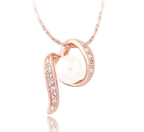 Acefeel 18K Gold Plated Pave Clear Crystal Swirl Ribbon Simulated White Pearl Pendant Necklace N054