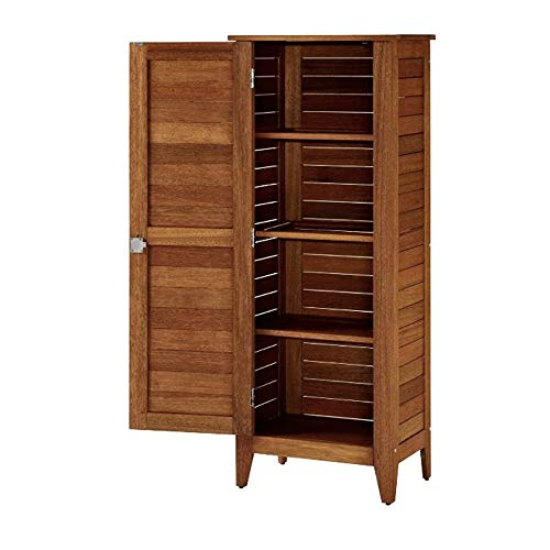 Tropical Hardwood - GHY Outdoor Armoire Single Door Eucalyptus Finish Tropical Hardwood Slat Design Lockable Cabinet Removable 4 Racks Storage Organizer & eBook by JEFSHOP