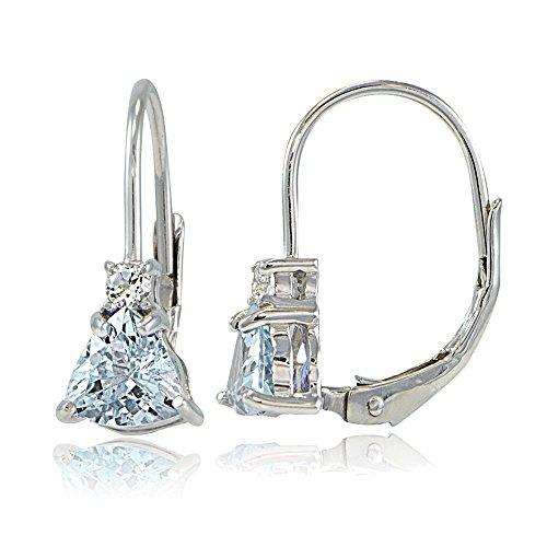 Sterling Silver Genuine Blue Topaz & White Topaz Trillion-Cut Leverback Drop Earrings