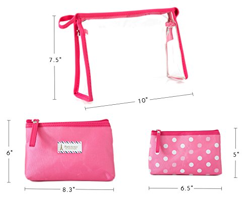 bcf50893d3e8 Zhoma 3 Piece Waterproof Cosmetic Bag Set - Makeup Bags And Travel Case -  Rose. Rose