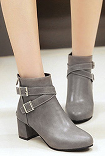 Women's Grey Round Mid Heel Zip Boots Short Up Elegant Toe Ankle IDIFU Block 7qx4wOdn7
