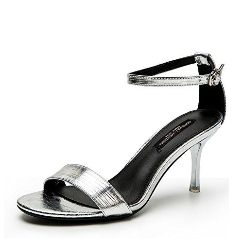 Sandalias Moda Verano,Velcro Una Palabra Zapatos Punta Abierta Un Color Sólido plata