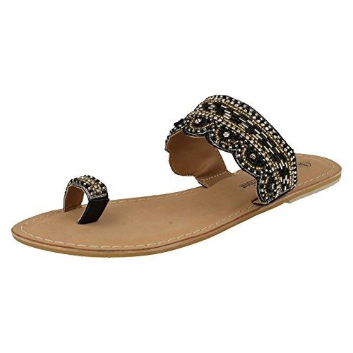 Spot On Ladies Leather Collection Beaded Toe Sandals F0898 - Black/Pewter - Synthetic - UK Size 3 - EU Size 36 - US Size 5 VyDPpltAa