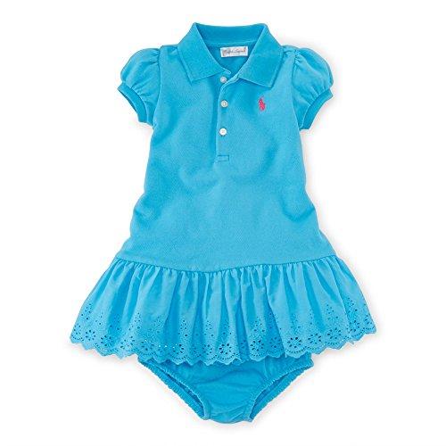 - Ralph Lauren Baby Girls Eyelet Polo Dress & Bloomer (12 Months, Lindsay Blue)