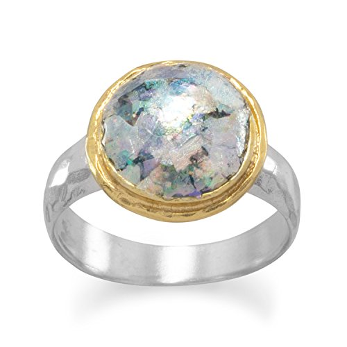 9mm Ancient Roman Glass Gold Plated Sterling Silver Edge Hammered 3.5mm Band Ring - Size 9 by JewelryWeb