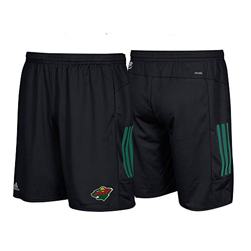 adidas Minnesota Wild NHL Climalite 3-Stripes Performance Black Center Ice Shorts (L) (Black Nhl Shorts)