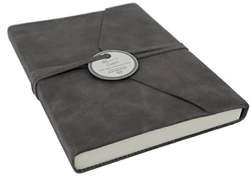 Capri Large Charcoal Handmade Italian Leather Wrap Journal, Plain Pages (21cm x 15cm x 2cm)