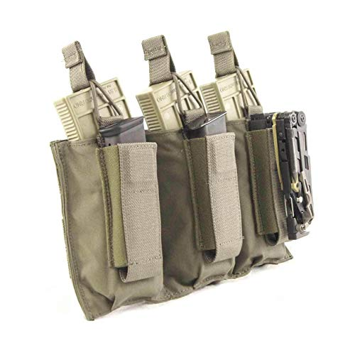 Tactical Assault Gear TAG MOLLE Triple Shingle and Pistol Magazine Pouch for Military Law Enforcement - Ranger Green