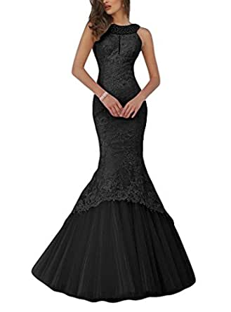 Promworld Women's Mermaid Lace Evening Gowns Halter Key