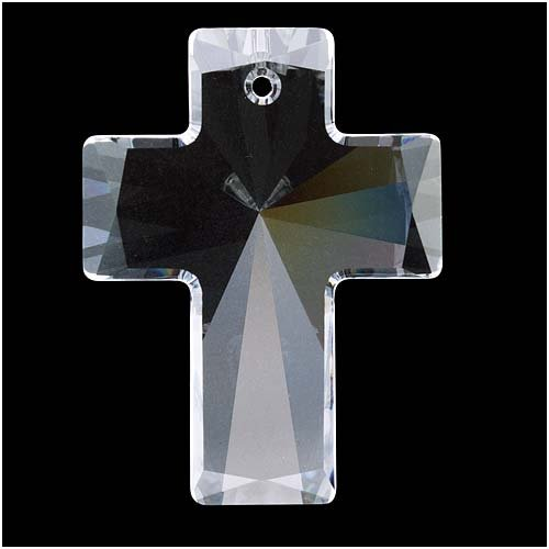 Swarovski Crystal, 6864 Cross Pendant 40x30mm, 1 Piece, Crystal