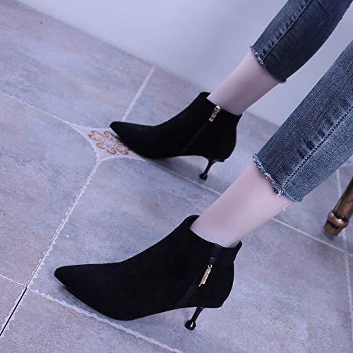 LBTSQ Damenschuhe Kurze Kurze Kurze Stiefel Mit Hohen 7Cm Starken Kopf Mode Seite Reißverschluss Dünne Sohle Samt Schwarz Ma Dingxue 557723