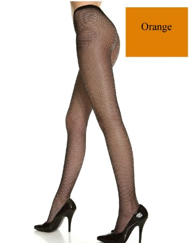 - Music Legs Orange Seamless Fishnet Pantyhose One Size(Up to 175 lbs)
