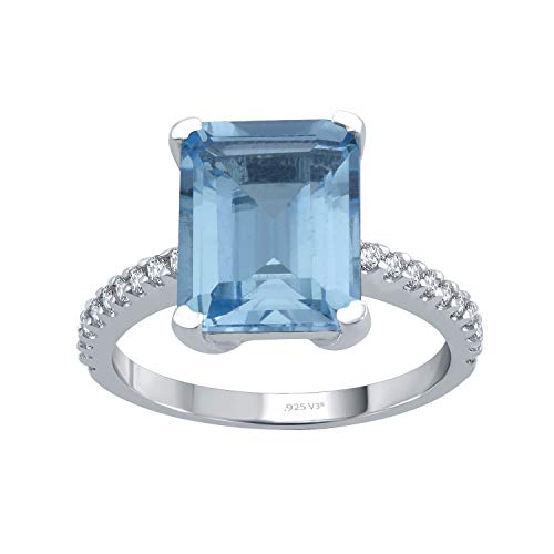 (Sterling Silver with Natural Choice Of Gemstone and White Topaz Solitaire Ring)