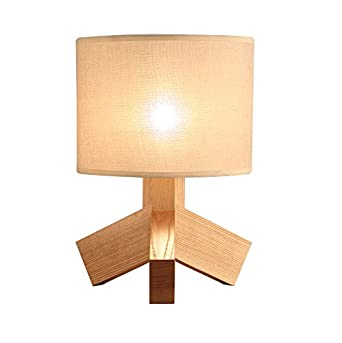 Lámpara de mesa de madera sólida, clásica lámpara de escritorio ...
