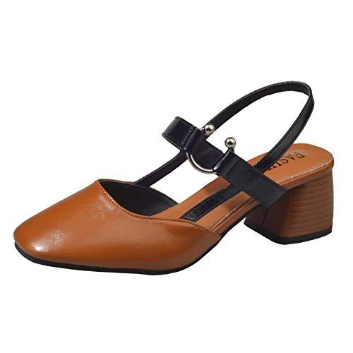 6cm tacchi i piazza un con vuoto i brown teste alto KOKQSX 37 spesso sandali alti tacchi il 46nAxA
