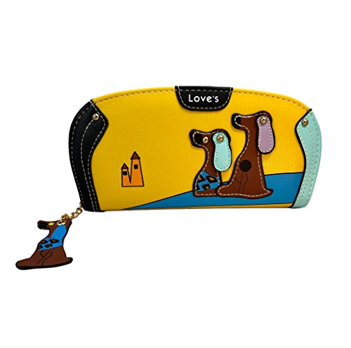 Happy Puppin Designer Dog Wallet. It's Not Only Super Cute It's Functional! Doggy Pull Tab Has a Zippered Coin Holder And Is Strong and Fashionable. Vegan Approved! (Yellow Rounded)