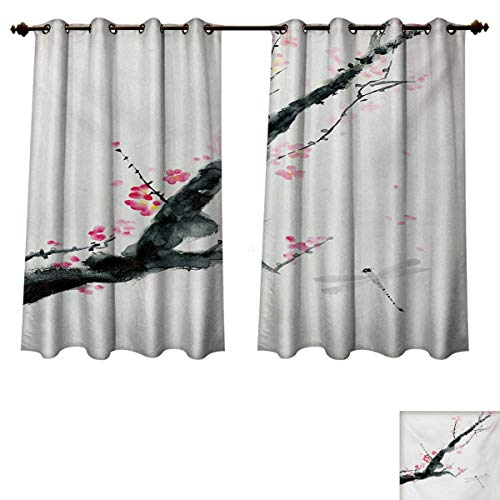 (RuppertTextile Dragonfly Blackout Thermal Curtain Panel Branch of a Pink Cherry Blossom Sakura Tree Bud and A Dragonfly Dramatic Artisan Window Curtain Fabric Pink Black W55 x L72 inch)