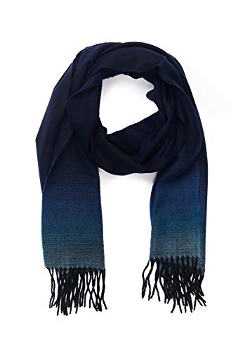INVERNO Super Soft Luxurious Cashmere Feel Warm Winter Pattern Design Unisex Scarf (Blue Ombre)