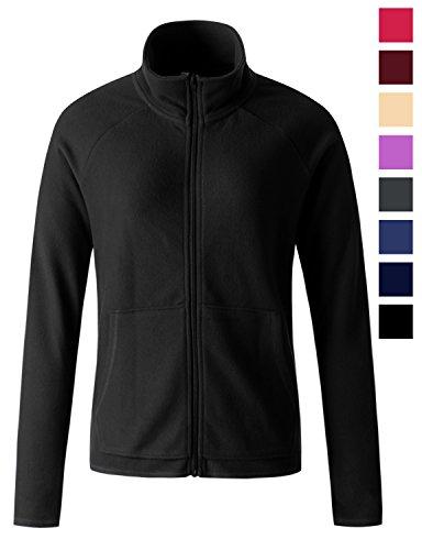 REGNA X women's polar fleece long full zip up fleece jacket Black 2XL XX-Large Black Polar Fleece Jacket