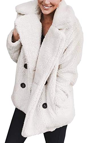 e Breasted Lapel Open Front Fleece Coat with Pockets Outwear White XL ()