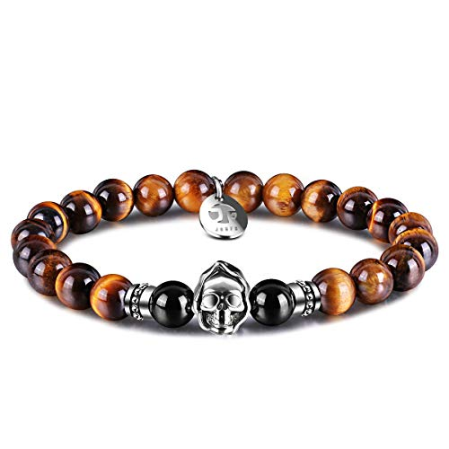 JOXFA Agate Mens Bead Bracelets, Grim Reaper Skull Bracelets 8mm Natural Tiger Eye Gemstone Beads Charm Healing Elastic Bracelet (Tiger's Eye)