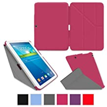rooCASE Samsung Galaxy Tab 3 10.1 Case - Slim Shell Origami Stand Tablet Case - MAGENTA (With Auto Wake / Sleep Cover)