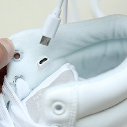 [Presente:pequeña toalla]JUNGLEST® 7 Colores Altas Top USB Carga LED Luz Glow Luminosos Light Up Flashing Sneakers Zapatos Deportivos de la Zapa Blanco