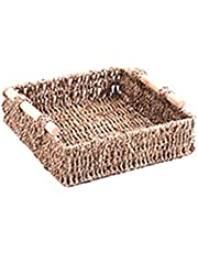 Hand-Woven Wicker Basket Storage Tray with Handle Desktop Display Box Organizer for Bread Fruit Snack Food