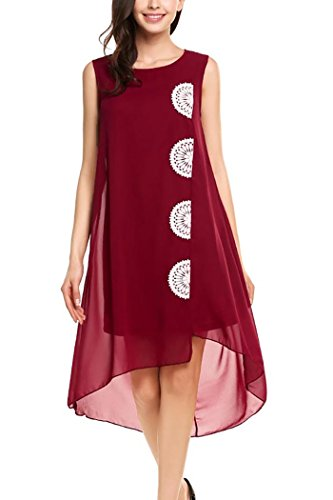 Women Summer Chiffon Loose Dress Red XL - 8