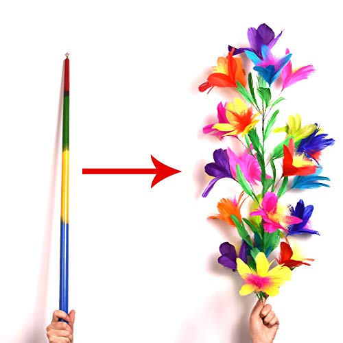 Blue-ther Vanishing Disappearing Rainbow Metal Cane to Flowers Stage Magic Tricks Amazing Close Up Magic Wand Magic for Professional Magicians
