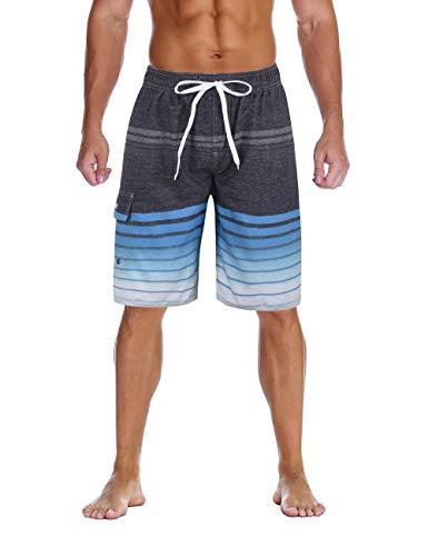 (Nonwe Men's Bathing Suits Quick Dry Striped Hawaiian Vacation Surf Shorts Drawsting Gray 36 )