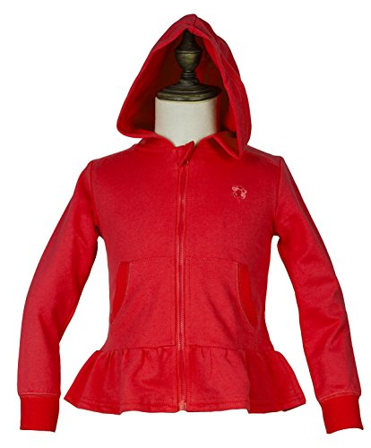 Hooded Jacket Embroidered Full Zip - Little Girls' Cotton Long Sleeve Full-Zip Ruffle Bottom Jersey Hoodies with Pockets 6 Red