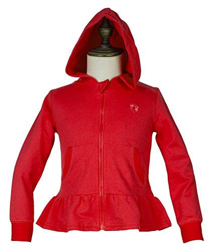 Toddler Girls' Long Sleeve Full-Zip Ruffle Bottom Jersey Hoodie Knit Jacket 100% Cotton 3 (Toddler Full Zip Jacket)