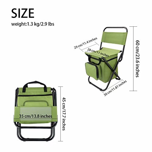 BeGrit Multi-Purpose Cooler Chair Folding Stool with Cooler Bag for Hiking Fishing Camping Picnic Backpacking by BeGrit (Image #3)