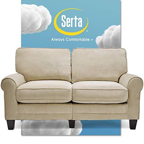 """Serta Copenhagen Sofas, Modern Living Room Couch, Microfiber - Upholstered, 61"""" Loveseat, Tan"""