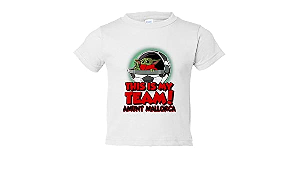 Camiseta niño parodia baby Yoda mi equipo de fútbol Amunt Mallorca ...