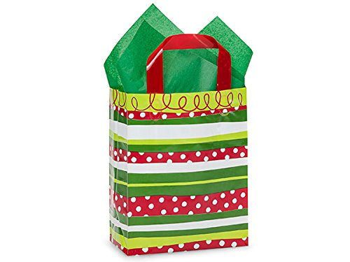 Pack Of 250, Cub 8 X 4 X 10'' Christmas Celebration Stripe 3 Mil Hdpe Plastic Shopping Bags W/6 Mil Soft Loop Handle by Generic