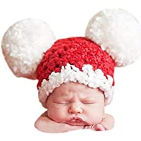 Babymoon Pom Pom Cap Hat New Born Baby Photography Shoot Props Costume (Red)
