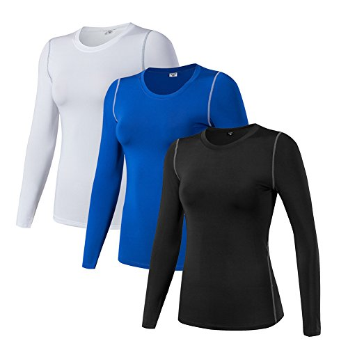 Women's Compression Shirt Dry Fit Long Sleeve Running Athletic T-Shirt Workout Tops (XL, 3 ()