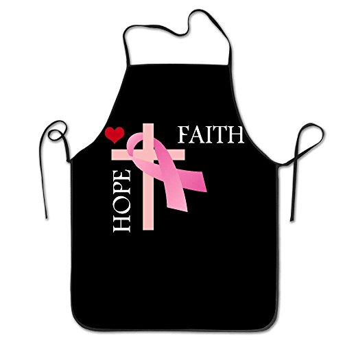 SPHGdiy Funny Chef Kitchen Cooking Bib Faith Hope Love, Breast Cancer Grilling by SPHGdiy